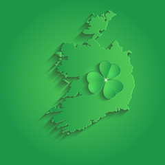 Ireland map St  Patrick Day shamrock paper 3D green