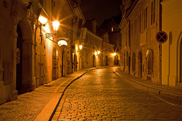 Prague - night aisle in Little quarter