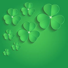 St  Patrick Day shamrock paper 3D green