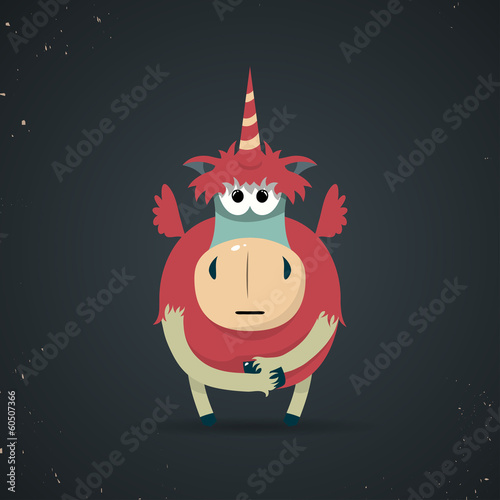 Magic little mythical unicorn with a spiral horn
