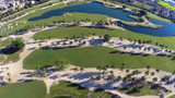 Aerial video footage of a golf course