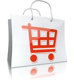 Einkaufstasche mit Einkaufswagen, weiß