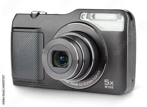 Digital compact camera isolated on white with clipping path