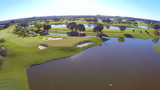 Aerial footage of a golf course