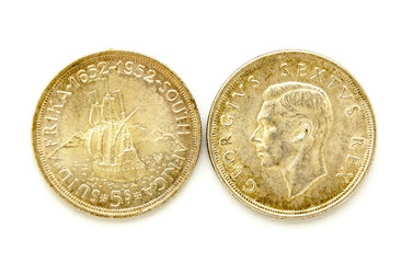 Front And Back Of Vintage South African Five Shilling Coins