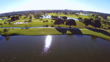 Aerial footage of a golf course in Miami