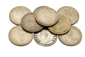 Nine Vintage Union Of South Africa Five Shilling Coins