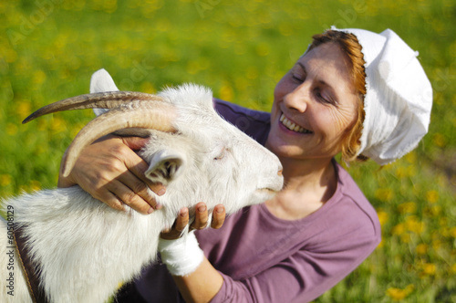 goat and woman