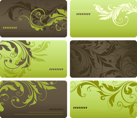 Green Scroll Business Cards