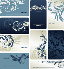Blue Scroll Business Cards
