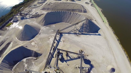 Aerial footage of an industrial dig site