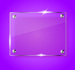 Glass shining empty banner on violet background