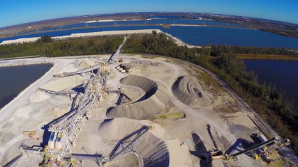 Aerial video of a industrial dig site