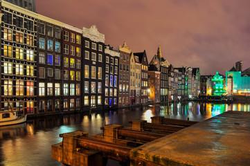 Night view of Damrak, Amsterdam