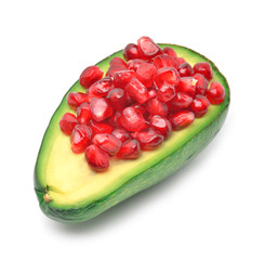 Ripe avocado and pomegranate seeds