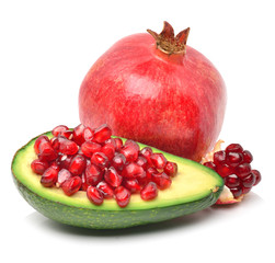 Ripe avocado and pomegranate