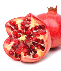 Ripe pomegranate fruit isolated on white