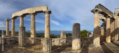 Ruins of temple on island Aegina, Greece.