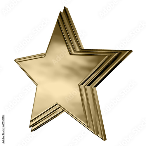 Gold star with stepped face
