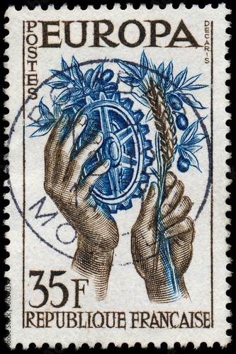 FRANCE - CIRCA 1957: a stamp printed in the France shows Hands w