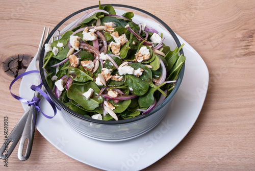 Spinach and cheese salad with balsamic dressing