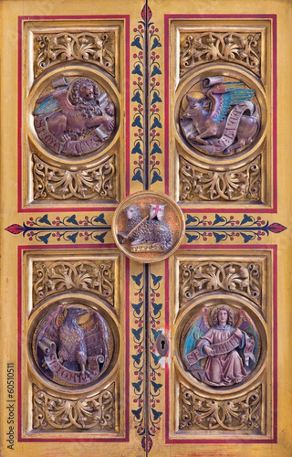 Bratislava - Four Evangelists symbols on tabernacle - cathedral