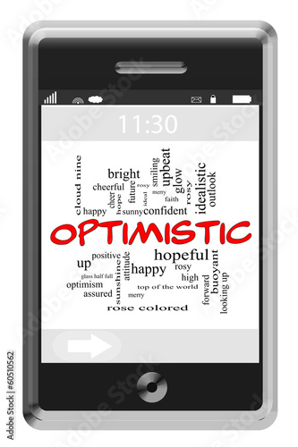 Optimistic Word Cloud Concept on Touchscreen Phone