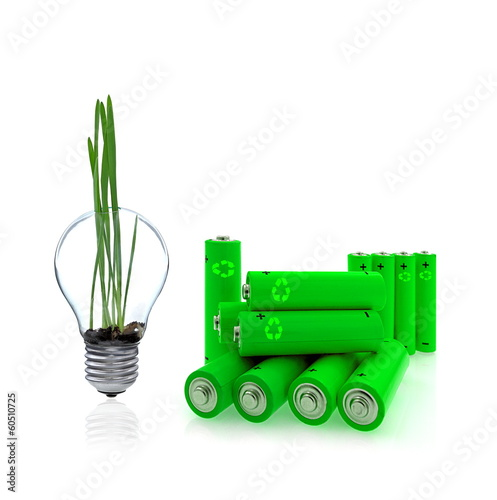 Green power farm, glass bulb, accu, and renewable energy sources