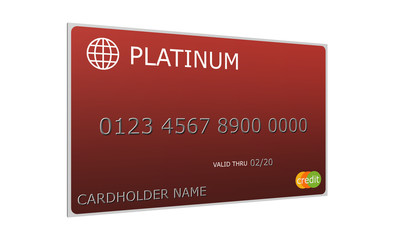 3D Platinum red Credit Card
