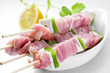 raw chicken and vegetables skewers