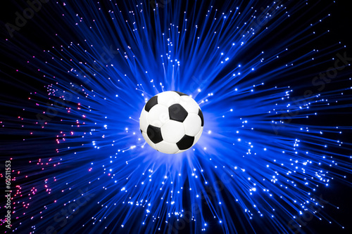 Football launched a ray of blue light background