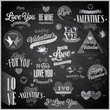 Valentine`s day set - emblems and other elements - Chalkboard.