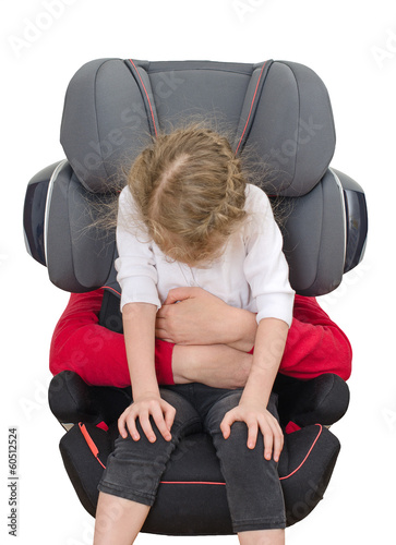 Child safety seat concept. Isolated on white.
