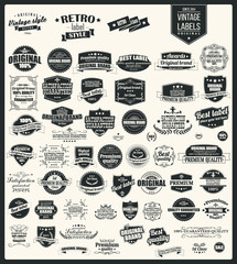 Collection of vintage retro labels, typographic design elements