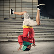 Breakdancer doing head stand