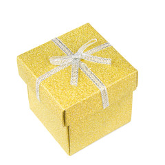 Golden gift box on white