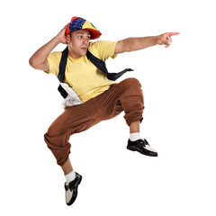 Hip Hop dancer jumping and pointing