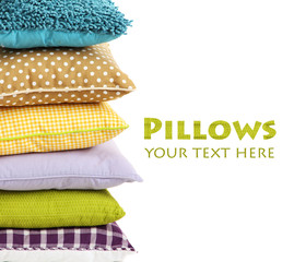 Hill colorful pillows isolated on white