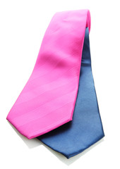 pink and blue ties isolated on white