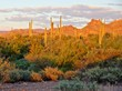 View of the Arizona desert near Phoenix at sunset