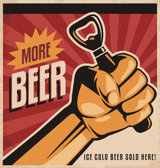 Beer retro poster design with revolution fist