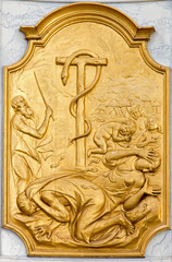 Leuven - Relief of cooper snake and Israelis