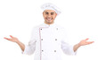 Professional chef in white uniform and hat, isolated on white