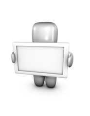 abstract 3d person holding empty board illustration