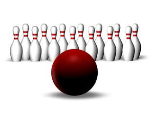 bowling game with red ball, aim and targeting concept