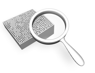 searching solution concept idea with 3d labyrinth magnified