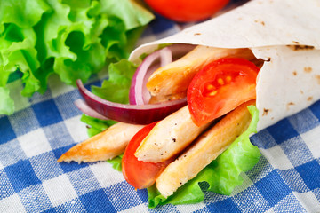 Chicken kebab wrap