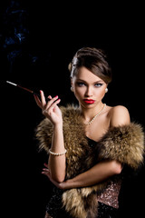 Retro. Gorgeous girl with cigarette