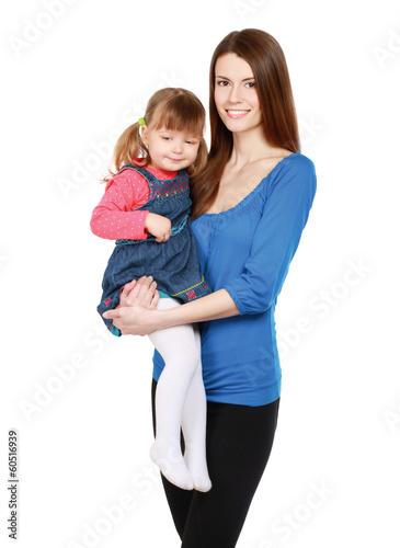 Happy portrait of young mother with little pretty daughter