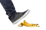Foot, shoe about to slip on banana peel
